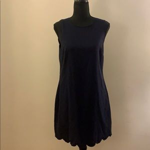 Navy Mini Dress w/ Scalloped Edge